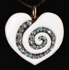 Fused Glass Pendant, Dichroic Glass, Fused Jewelry, Heart Spiral, Signed…