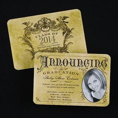 Vintage Announcement from Carlson Craft - Item Number: GYP26609 - A vintage design gives this photo announcement a rustic look. #CarlsonCraft #graduation