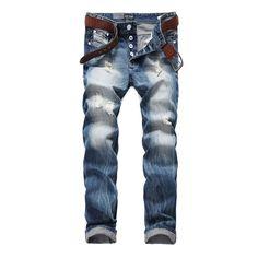 Newly Italian Designer Fashion Men Jeans Dsel Brand Ripped Jeans For Men Distressed Destroyed Biker Jeans Denim Pants 944-1