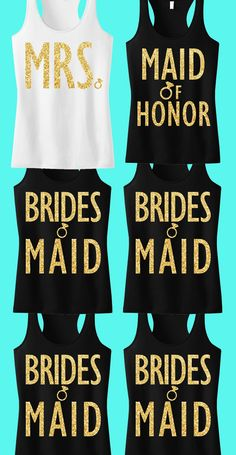 Pick Any 7 #BRIDAL / #WEDDING  Tank Tops (1 MRS, 1 MAIDOFHONOR, 5 BRIDESMAIDS) & Get 15% Off Bundle + FREE MRS. Tote by #NobullWomanApparel, for only $148.95! Click here to buy https://www.etsy.com/listing/228899852/bridal-wedding-7-tank-tops-15-off-bundle?ref=shop_home_active_14