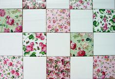 4x4 inch Floral Ceramic tiles. Perfect for Kitchen, Bath etc. I make them myself!