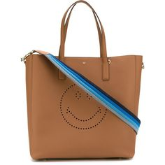 Anya Hindmarch Smiley Featherweight Ebury Tote (£935) ❤ liked on Polyvore featuring bags, handbags, tote bags, brown, brown purse, tote handbags, handbags tote bags, handbags totes et brown tote handbags