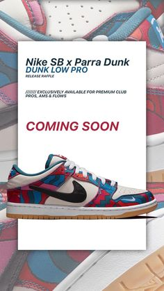 The Nike SB x Parra Dunk Low Pro - available exclusively for Premium Club FLOWs, AMs and PROs via Release Raffle. The Raffle will run from 27.09.2021, 16:00 until 28.09.2021, 23:59 (CEST). All further information can be found on the Release Raffle page in our shop. Skate Shoe Brands, Skate Shoes, Premium Club, New Skate, Shoe Releases, Converse, Vans, Dunk Low, Nike Sb