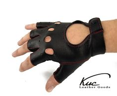 Black fingerless men leather gloves, driving gloves- sewn with colour thread - italian lambskin leather