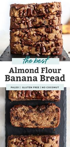 The BEST Almond Flour Paleo Banana Bread with chocolate chips – it's simple, quick and perfectly moist. No added sugar needed, just sweetened with bananas and chocolate chips (or leave out! Banana Bread Almond Flour, Gluten Free Banana Bread, Almond Flour Recipes, Chocolate Chip Banana Bread, Banana Bread Recipes, Gluten Free Baking, Chocolate Chips, Keto Bread, Almond Flour Desserts