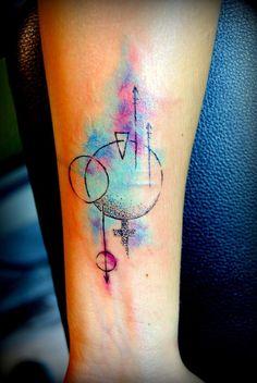 geometric tattoo, tattoo, dövme, watercolor