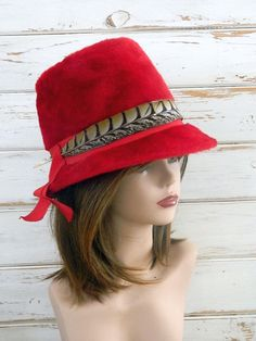 Vintage Dark Red Milady Bucket Style Hat - Made in UK - Feather and Hat Pin  - Size 22 3b631c391301