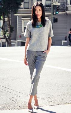 #work #fashion Classic Gray Shirt Plus Business Pants