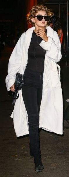 Gigi Hadid: Shoes – Stuart Weitzman  Sungalsses – Karen Walker  Purse – Rag & Bone