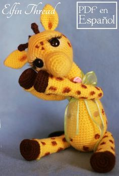 Elfin Thread Josephine the Giraffe PDF Amigurumi Pattern This is a pattern to make a Vintage and cute Giraffe called Josephine so adorable that you will want kiss her day and night! Details: The finished doll size is about 14 Crochet Giraffe Pattern, Crochet Animal Patterns, Crochet Patterns Amigurumi, Stuffed Animal Patterns, Crochet Animals, Crochet Dolls, Giraffe Toy, Cute Giraffe, Handmade Toys