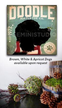 Doodle goldendoodle labradoodle Dog Mistletoe by geministudio
