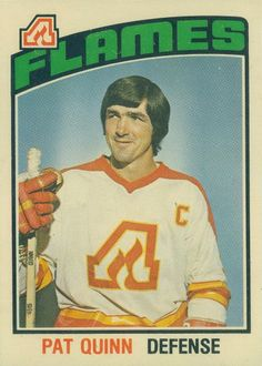 Pat Quinn of the Atlanta Flames - O-Pee-Chee hockey card. Pat Quinn, Atlanta, Hockey Pictures, Hockey World, Local Legends, Sports Graphic Design, Hockey Games, Vancouver Canucks, National Hockey League