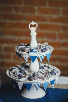 Nautical Wedding Cake Balls on Grooms Table Party
