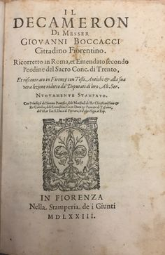 Giovanni Boccaccio, poet, Humanist, orator, narrator and ambassador, father of the Italian novel, is one of the greatest storytellers known. He composed Il Decamerone (The Decameron) in the mid-14th century and it was first circulated in manuscript form in the 1370s. Despite being one of the most meddled-with texts to...