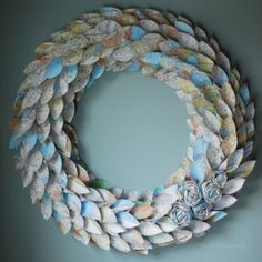 Map Wreath - made from atlas pages - large 22 inch newspaper rosette and leaf by Emel