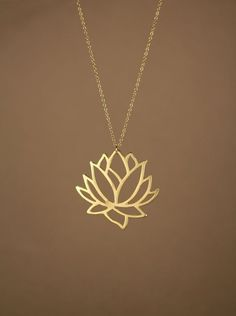 Lotus necklace gold lotus flower necklace blooming by BubuRuby, $28.00 #Jewelry #beautifuljewelrynecklaces