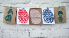 Christmas Card Handprinted Linoprint on by MeiakIllustration