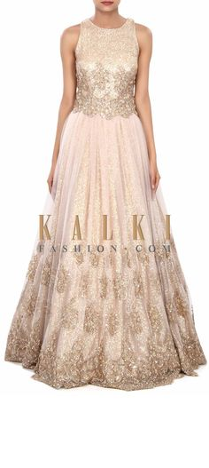 Buy Online from the link below. We ship worldwide (Free Shipping over US$100) Price- $1029 Click Anywhere to Tag http://www.kalkifashion.com/cream-gown-adorn-in-sequin-and-kardana-embroidery-only-on-kalki.html