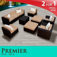 """Premier Outdoor Wicker 10 Piece Patio Set Taupe Covers -10A by TK Classics. $2157.00. Versatile design for ANY patio size. """"No Sag"""" solid wicker bottoms with extra flexible strapping providing long-lasting suspension. 4"""" Welted cushions for a luxurious look and feel. Affordable and comfortable Modular Furniture allows for endless arrangement possibilities. Fully Assembled - ready to relax and enjoy. 2 for 1 Special: Purchase 1 of our Classic Patio Sets and receive a..."""
