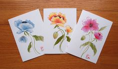 Chinese Brush Poppy Flower Printed Greeting by KelliMcNicholsArt