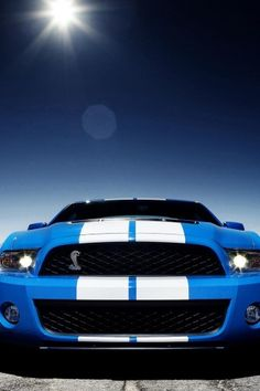 Mustang, Car, Blue and white, Transport