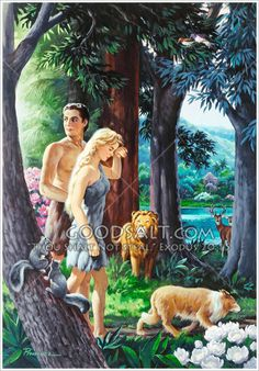 Adam and Eve, clothed in fur, leaving the Garden of Eden.