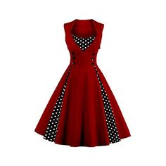 VKStar Womens Vintage 1950's Inspired Button Swing Evening Dress... ($29) ❤ liked on Polyvore featuring dresses, bridesmaid dresses, holiday cocktail dresses, red vintage dress, red holiday cocktail dress and red dress