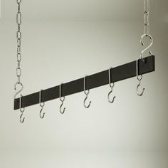 Euro Black and Chrome Hanging Bar Pot Rack - modern - indoor pots and planters - Hayneedle