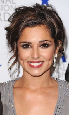 Cheryl Coles dewy makeup and Messy Updo Hairstyle