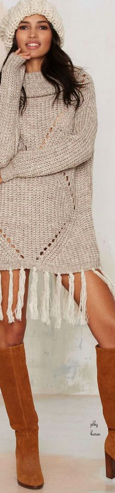 Boho Style ✿⊱╮JS knitted tunic dress women fashion outfit clothing style apparel @roressclothes closet ideas