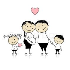 Stock vector of 'Happy parents with children waiting for newbaby, pregnancy'