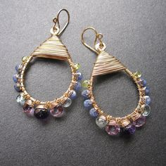 teardrop wire wrapped amethyst, tanzanite, blue topaz and peridot earrings