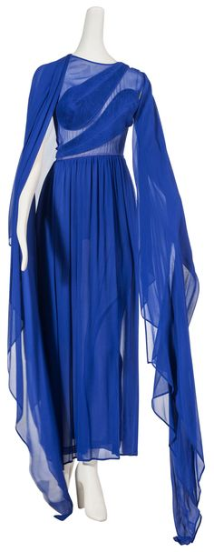 A Givenchy, royal blue draped evening gown from the late '70s or early '80s.