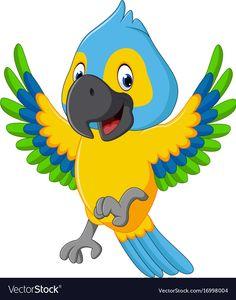 Cute macaw cartoon vector image on VectorStock Jungle Animals, Animals For Kids, Baby Animals, Cute Animals, Baby Animal Drawings, Cute Cartoon Drawings, Drawing For Kids, Painting For Kids, Parrot Cartoon