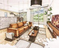 昨日の家具プラン。 家具は全部 #unico。 ラグ可愛いよね、今半額ですってよ #内観パース #建築パース #手描きパース #スケッチ #interiorplan #sketch #interiorstyling #interior #vintage #モデルハウス #archisketcher #sketch_arq #artarchworks