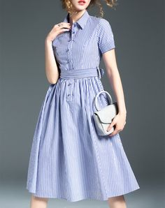 #AdoreWe #VIPme Shirt Dresses - Ewheat Stripe Short Sleeve A Line Classic Shirt Midi Dress - AdoreWe.com