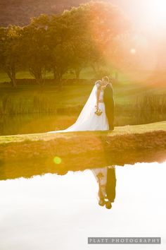 bridal and groom shot on golf course. Gorgeous!