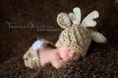 Baby Boy or Girl Deer Hat and Diaper Cover Set by KnittyMomma, $32.00
