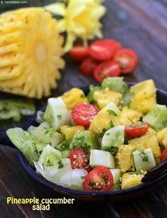 Pineapple Cucumber Salad ( Fibre Rich Salad) recipe, Indian Home Remedies Recipes Veg Recipes, Healthy Salad Recipes, Indian Food Recipes, Vegetarian Recipes, Cooking Recipes, Pineapple Recipes Indian, Juice Recipes, Indian Salads, Recipes