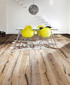 yellow eames chairs and beautiful wood flooring Flooring, House Design, Decor, House Interior, Yellow Chair, Interior, Home Decor, Rustic Flooring, Floor Design