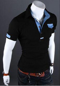 Men's Short Sleeve Shirt with Denim Details