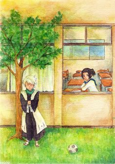 They are so cute. I could see him sitting out there waiting for class to get out. Bleach Fanart, Bleach Anime, My Little Monster, Little Monsters, Ichigo Y Rukia, Bleach Couples, Kaichou Wa Maid Sama, Military Art, Anime Ships