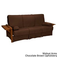 EpicFurnishings Bellevue Perfect Sit & Sleep Pillow Top Queen-size Futon Sleeper Sofa (Walnut Arms and Chocolate Brown Upholstery)