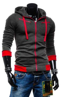 Men Casual Slim Zipper Hoodie