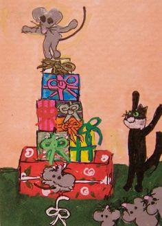 ACEO ATC Critter Christmas Gift Box Tree mice cat Original whimsical cartoon #Miniature   #aceo #art #eBay #Christmas #gifts @cat @mice
