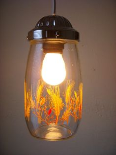 UpCycled ReCycled Clear Glass Summers Wheat Storage Container Hanging Pendant Lighting Fixture
