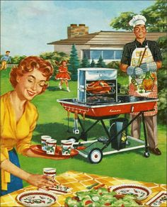 """""""Let's Cook Outdoors"""" Sears Kenmore Barbeque Brochure saltycotton"""
