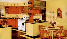 Fifties Kitchen Country Style, love the floor with the yellow accent going around the edge of counters. Fifties Kitchen Country Style, love the floor with the yellow accent going around… 1950s Style, 1950s Kitchen, Vintage Kitchen, Kitchen Design, Kitchen Decor, Wooden Play Kitchen, Vintage Interior Design, Interior Colors, Vintage Designs