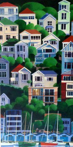 "Wellington, NZ artist Gordon Dale - ""Over the bay"" - Acrylic"