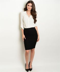 Black Pencil Skirt & Ivory Top LegacyLooks.com 1800-639-6710